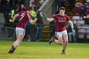11 February 2018; Barry McHugh of Galway, right, celebrates with team-mate Johnny Heaney after scoring his side's first goal during the Allianz Football League Division 1 Round 3 match between Galway and Mayo at Pearse Stadium in Galway. Photo by Diarmuid Greene/Sportsfile