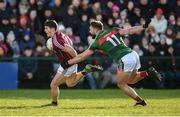 11 February 2018; Shane Walsh of Galway in action against Aidan O'Shea of Mayo during the Allianz Football League Division 1 Round 3 match between Galway and Mayo at Pearse Stadium in Galway. Photo by Diarmuid Greene/Sportsfile