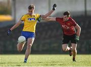11 February 2018; Enda Smith of Roscommon in action against Niall Donnelly of Down during the Allianz Football League Division 2 Round 3 match between Roscommon and Down at Dr. Hyde Park in Roscommon. Photo by Daire Brennan/Sportsfile