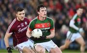 11 February 2018; Stephen Coen of Mayo in action against Damien Comer of Galway during the Allianz Football League Division 1 Round 3 match between Galway and Mayo at Pearse Stadium in Galway. Photo by Diarmuid Greene/Sportsfile