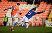 11 February 2018; Rory Grugan of Armagh with a shot on goal despite the attempted block of Michael Quinn of Longford during the Allianz Football League Division 3 Round 3 match between Armagh and Longford at the Athletic Grounds in Armagh. Photo by Oliver McVeigh/Sportsfile