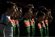 11 February 2018; Cillian O'Connor of Mayo, wearing number 22, amongst team-mates during the national anthem prior to the Allianz Football League Division 1 Round 3 match between Galway and Mayo at Pearse Stadium in Galway. Photo by Diarmuid Greene/Sportsfile