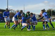 11 February 2018; Lindsay Peat of Ireland is tackled just short of the try line by Melissa Bettoni, right, and Valentina Ruzza of Italy during the Women's Six Nations Rugby Championship match between Ireland and Italy at Donnybrook Stadium in Dublin. Photo by David Fitzgerald/Sportsfile