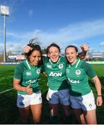 11 February 2018; Ireland players, from left, Sene Naoupu, Lindsay Peat and Michelle Claffey celebrate following their side's victory in the Women's Six Nations Rugby Championship match between Ireland and Italy at Donnybrook Stadium in Dublin. Photo by David Fitzgerald/Sportsfile