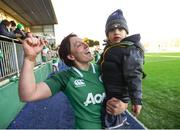 11 February 2018; Lindsay Peat of Ireland celebrates with her son Barra, age 2, following her side's victory in the Women's Six Nations Rugby Championship match between Ireland and Italy at Donnybrook Stadium in Dublin. Photo by David Fitzgerald/Sportsfile