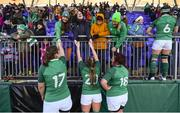 11 February 2018; Ireland players, from left, Laura Feely, Edel McMahon, Ciara O'Connor and Anna Caplice celebrate with supporters following their side's victory in the Women's Six Nations Rugby Championship match between Ireland and Italy at Donnybrook Stadium in Dublin. Photo by David Fitzgerald/Sportsfile
