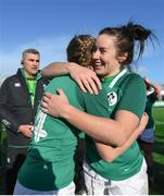 11 February 2018; Kim Flood of Ireland, right, and team mate Paula Fitzpatrick celebrate following their side's victory in the Women's Six Nations Rugby Championship match between Ireland and Italy at Donnybrook Stadium in Dublin. Photo by David Fitzgerald/Sportsfile