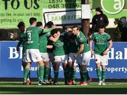 11 February 2018; Barry McNamee of Cork City is congratulated by teammates after scoring his side's second goal during the President's Cup match between Dundalk and Cork City at Oriel Park in Dundalk, Co Louth. Photo by Seb Daly/Sportsfile