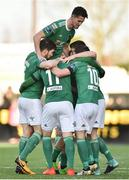 11 February 2018; Kieran Sadlier of Cork City celebrates with teammates after scoring his side's third goal during the President's Cup match between Dundalk and Cork City at Oriel Park in Dundalk, Co Louth. Photo by Seb Daly/Sportsfile