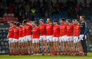 11 February 2018; Louth players stand for a minutes silence in memory of the late Liam Miller ahead of the Allianz Football League Division 2 Round 3 match between Cork and Louth at Páirc Ui Rinn in Cork. Photo by Eóin Noonan/Sportsfile