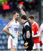 11 February 2018; Kevin O'Driscoll of Cork is shown a red card by referee Martin McNally during the Allianz Football League Division 2 Round 3 match between Cork and Louth at Páirc Ui Rinn in Cork. Photo by Eóin Noonan/Sportsfile
