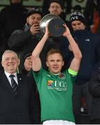 11 February 2018; Cork City captain Conor McCormack lifts the trophy following his side's victory during the President's Cup match between Dundalk and Cork City at Oriel Park in Dundalk, Co Louth. Photo by Seb Daly/Sportsfile