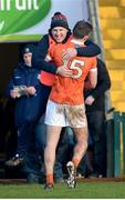 11 February 2018; Armagh assistant manager Paddy McKeever celebrates with Ethan Rafferty of Armagh at the final whistle in the Allianz Football League Division 3 Round 3 match between Armagh and Longford at the Athletic Grounds in Armagh. Photo by Oliver McVeigh/Sportsfile