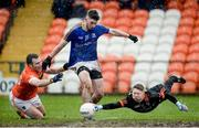 11 February 2018; Robbie Smyth of Longford in action against Brendan Donaghy and Blaine Hughes of Armagh in an incident that lead to a penalty for Longford during the Allianz Football League Division 3 Round 3 match between Armagh and Longford at the Athletic Grounds in Armagh. Photo by Oliver McVeigh/Sportsfile