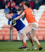 11 February 2018; Pat Farrell of Longford in action against Charlie Vernon of Armagh during the Allianz Football League Division 3 Round 3 match between Armagh and Longford at the Athletic Grounds in Armagh. Photo by Oliver McVeigh/Sportsfile