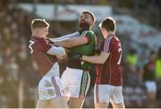 11 February 2018; Sean Andy O'Ceallaigh, left, and Johnny Heaney of Galway tussle off the ball with Aidan O'Shea of Mayo during the Allianz Football League Division 1 Round 3 match between Galway and Mayo at Pearse Stadium in Galway. Photo by Diarmuid Greene/Sportsfile