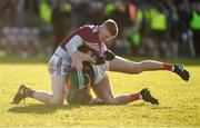 11 February 2018; Sean Andy O'Ceallaigh of Galway and Aidan O'Shea of Mayo tussle off the ball during the Allianz Football League Division 1 Round 3 match between Galway and Mayo at Pearse Stadium in Galway. Photo by Diarmuid Greene/Sportsfile