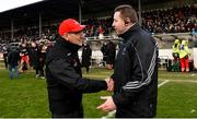 11 February 2018; Tyrone manager Mickey Harte, left, and Kildare manager Cian O'Neill after the Allianz Football League Division 1 Round 3 match between Kildare and Tyrone at St Conleth's Park in Newbridge, Kildare. Photo by Piaras Ó Mídheach/Sportsfile