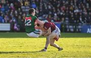 11 February 2018; Cillian O'Connor of Mayo and Eoghan Kerin of Galway tussle off the ball during the Allianz Football League Division 1 Round 3 match between Galway and Mayo at Pearse Stadium in Galway. Photo by Diarmuid Greene/Sportsfile