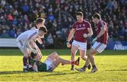 11 February 2018; Cillian O'Connor of Mayo is surrounded by Mayo players Ruairi Lavelle, Eoghan Kerin, Gareth Bradshaw, and Cathal Sweeney of Galway tussle off the ball during the Allianz Football League Division 1 Round 3 match between Galway and Mayo at Pearse Stadium in Galway. Photo by Diarmuid Greene/Sportsfile