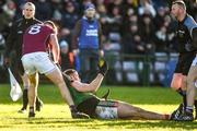 11 February 2018; Aidan O'Shea of Mayo is removed from an altercation by Paul Conroy of Galway as referee Anthony Nolan looks on during the Allianz Football League Division 1 Round 3 match between Galway and Mayo at Pearse Stadium in Galway. Photo by Diarmuid Greene/Sportsfile