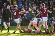 11 February 2018; Cillian O'Connor of Mayo clashes with Paul Conroy of Galway following an altercation with Aidan O'Shea as referee Anthony Nolan looks on during the Allianz Football League Division 1 Round 3 match between Galway and Mayo at Pearse Stadium in Galway. Photo by Diarmuid Greene/Sportsfile