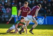 11 February 2018; Eoghan Kerin and Johnny Heaney of Galway have words with Cillian O'Connor of Mayo after he missed a scoring opportunity during the Allianz Football League Division 1 Round 3 match between Galway and Mayo at Pearse Stadium in Galway. Photo by Diarmuid Greene/Sportsfile