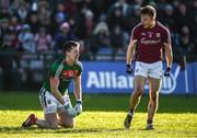 11 February 2018; Eoghan Kerin of Galway reacts towards Cillian O'Connor of Mayo after he missed a scoring opportunity during the Allianz Football League Division 1 Round 3 match between Galway and Mayo at Pearse Stadium in Galway. Photo by Diarmuid Greene/Sportsfile