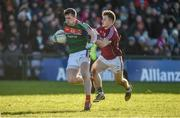 11 February 2018; Cillian O'Connor of Mayo in action against Eoghan Kerin of Galway during the Allianz Football League Division 1 Round 3 match between Galway and Mayo at Pearse Stadium in Galway. Photo by Diarmuid Greene/Sportsfile