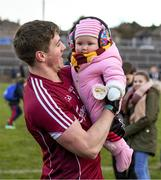 11 February 2018; Shane Walsh of Galway celebrates with his god-daughter Réaltín Walsh, age 9 months, from Clonberne, Co. Galway, after the Allianz Football League Division 1 Round 3 match between Galway and Mayo at Pearse Stadium in Galway. Photo by Diarmuid Greene/Sportsfile