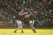 11 February 2018; Gareth Bradshaw of Galway and Aidan O'Shea of Mayo tussle off the ball during the Allianz Football League Division 1 Round 3 match between Galway and Mayo at Pearse Stadium in Galway. Photo by Diarmuid Greene/Sportsfile
