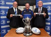 11 February 2018; Niall Rynne, left, President of the Leinster Branch, Dermot O'Mahony, Leinster Rugby Fixtures Administrator and Denis Heneghan, President of North Kildare during the Bank of Ireland Provincial Towns Cup Round 3 Draw at North Kildare RFC in Kilcock, Co Kildare. Photo by Matt Browne/Sportsfile
