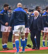 10 February 2018; President of Ireland Michael D. Higgins meets Italian captain Sergio Parisse prior to the Six Nations Rugby Championship match between Ireland and Italy at the Aviva Stadium in Dublin. Photo by David Fitzgerald/Sportsfile