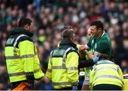 10 February 2018; Robbie Henshaw of Ireland receives medical attention after sustaining an injury during the Six Nations Rugby Championship match between Ireland and Italy at the Aviva Stadium in Dublin. Photo by David Fitzgerald/Sportsfile