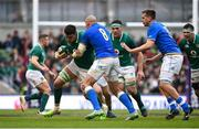 10 February 2018; Quinn Roux of Ireland is tackled by Sergio Parisse of Italy during the Six Nations Rugby Championship match between Ireland and Italy at the Aviva Stadium in Dublin. Photo by David Fitzgerald/Sportsfile