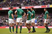 10 February 2018; Ireland backline, from left, Jonathan Sexton, Jacob Stockdale, Bundee Aki, Robbie Henshaw and Rob Kearney during the Six Nations Rugby Championship match between Ireland and Italy at the Aviva Stadium in Dublin. Photo by David Fitzgerald/Sportsfile