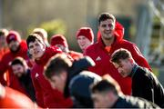 12 February 2018; Alex Wootton, Gerbrandt Grobler, and Chris Cloete during Munster Rugby squad training at the University of Limerick in Limerick. Photo by Diarmuid Greene/Sportsfile
