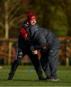 12 February 2018; Defence coach JP Ferreira and kitman Tony Mullins wrestle for possession of a ball during Munster Rugby squad training at the University of Limerick in Limerick. Photo by Diarmuid Greene/Sportsfile