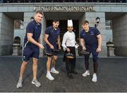 "12 February 2018; Leinster's Ross Molony, Garry Ringrose, Max Deegan and Senior Coach Stuart Lancaster were at the five star InterContinental Dublin today to announce the hotel becoming the official hotel partner of Leinster Rugby. Ciara Hanley, Director of Sales & Marketing at InterContinental Dublin said, ""We are delighted to welcome Leinster Rugby, whose home ground is literally on our doorstep, so it makes great sense for both parties that we have become partners for the 2018/2019 season. The Hotel has a long relationship with the rugby community and we look forward to working closely with Leinster Rugby staff, the team and supporters over the coming years. For us the brand alignment with Leinster Rugby is a perfect fit and we wish the team all the best in the upcoming Guinness Pro14 and The European Rugby Champions Cup"". Mick Dawson, Chief Executive, Leinster Rugby, said, ""We are delighted to be here today at the five star InterContinental Dublin and to formally launch this partnership. The InterContinental Dublin have been long standing supporters of Leinster Rugby and this formal partnership will allow us both to further that relationship over the coming seasons on match days and beyond"". Pictured is, from left, Leinster's Ross Molony, Max Deegan, Sous Chef Daniel Jinariu, and Garry Ringrose, at the InterContinental Hotel in Ballsbridge, Dublin. Photo by Seb Daly/Sportsfile"