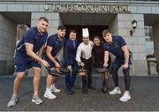 "12 February 2018; Leinster's Ross Molony, Garry Ringrose, Max Deegan and Senior Coach Stuart Lancaster were at the five star InterContinental Dublin today to announce the hotel becoming the official hotel partner of Leinster Rugby. Ciara Hanley, Director of Sales & Marketing at InterContinental Dublin said, ""We are delighted to welcome Leinster Rugby, whose home ground is literally on our doorstep, so it makes great sense for both parties that we have become partners for the 2018/2019 season. The Hotel has a long relationship with the rugby community and we look forward to working closely with Leinster Rugby staff, the team and supporters over the coming years. For us the brand alignment with Leinster Rugby is a perfect fit and we wish the team all the best in the upcoming Guinness Pro14 and The European Rugby Champions Cup"". Mick Dawson, Chief Executive, Leinster Rugby, said, ""We are delighted to be here today at the five star InterContinental Dublin and to formally launch this partnership. The InterContinental Dublin have been long standing supporters of Leinster Rugby and this formal partnership will allow us both to further that relationship over the coming seasons on match days and beyond"". Pictured is, from left, Leinster's Ross Molony, Max Deegan, Nicky Logue, General Manager InterContinental Dublin, Sous Chef Daniel Jinariu, Ciara Hanley, Director of Sales and Marketing InterContinental Dublin, and Garry Ringrose, at the InterContinental Hotel in Ballsbridge, Dublin. Photo by Seb Daly/Sportsfile"