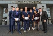 "12 February 2018; Leinster's Ross Molony, Garry Ringrose, Max Deegan and Senior Coach Stuart Lancaster were at the five star InterContinental Dublin today to announce the hotel becoming the official hotel partner of Leinster Rugby. Ciara Hanley, Director of Sales & Marketing at InterContinental Dublin said, ""We are delighted to welcome Leinster Rugby, whose home ground is literally on our doorstep, so it makes great sense for both parties that we have become partners for the 2018/2019 season. The Hotel has a long relationship with the rugby community and we look forward to working closely with Leinster Rugby staff, the team and supporters over the coming years. For us the brand alignment with Leinster Rugby is a perfect fit and we wish the team all the best in the upcoming Guinness Pro14 and The European Rugby Champions Cup"". Mick Dawson, Chief Executive, Leinster Rugby, said, ""We are delighted to be here today at the five star InterContinental Dublin and to formally launch this partnership. The InterContinental Dublin have been long standing supporters of Leinster Rugby and this formal partnership will allow us both to further that relationship over the coming seasons on match days and beyond"". Pictured is, from left, Kevin Quinn, Leinster Head of Commercial and Marketing, Nicky Logue, General Manager InterContinental Dublin, Max Deegan, Leinster Senior Coach Stuart Lancaster, Garry Ringrose, Ciara Hanley, Director of Sales and Marketing InterContinental Dublin, Ross Molony, and Mick Dawson, Leinster CEO, at the InterContinental Hotel in Ballsbridge, Dublin. Photo by Seb Daly/Sportsfile"