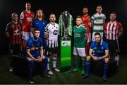 13 February 2018; In attendance during the SSE Airtricity League Launch 2018 are, Premier Division Players, from left, Derek Pender of Bohemians, Ian Bermingham of St. Patricks Athletic, John Martin of Waterford, Hugh Douglas of Bray Wanderers, Stephen O'Donnell of Dundalk, Conor McCormack of Cork City, Rafael Cretaro of Sligo Rovers, Eoin Wearen of Limerick, Trevor Clarke of Shamrock Rovers and Gavin Peers of Derry City. The launch took place at the Aviva Stadium in Dublin. Photo by Sam Barnes/Sportsfile