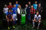 13 February 2018; In attendance during the SSE Airtricity League Launch 2018 are, Leanne Shiell, SSE Airtricty Sponsorship Specialist and John McGuinness, SSE Airticity League Marketing Executive,  with First Division Players, from left, Kieran Marty Waters of Cabinteely, Jake Hyland of Drogheda United, Jamie Doyle of Shelbourne, Aidan Friel of Finn Harps, Evan Osam of UCD, Ryan Gaffey of Athlone Town, Dean Zambra of Longford Town, Darren Murphy of Cobh Ramblers, Ryan Connolly of Galway United and Ross Kenny of Wexford. The launch took place at the Aviva Stadium in Dublin. Photo by Sam Barnes/Sportsfile