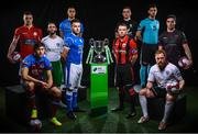 13 February 2018; In attendance during the SSE Airtricity League Launch 2018 are, First Division Players, from left, Jamie Doyle of Shelbourne,  Jake Hyland of Drogheda United, Kieran Marty Waters of Cabinteely, Evan Osam of UCD, Aidan Friel of Finn Harps, Dean Zambra of Longford Town, Ryan Gaffey of Athlone Town, Darren Murphy of Cobh Ramblers, Ryan Connolly of Galway United and Ross Kenny of Wexford. The launch took place at the Aviva Stadium in Dublin. Photo by Sam Barnes/Sportsfile