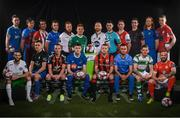 13 February 2018; In attendance during the SSE Airtricity League Launch 2018, are players from the Premier and First Divisons, back row from left, Eoin Wearen of Limerick, Jake Hyland of Drogheda United, Gavin Peers of Derry City, Aidan Friel of Finn Harps, Ryan Connolly of Galway United, Conor McCormack of Cork City, Stephen O'Donnell of Dundalk, Darren Murphy of Cobh Ramblers, Ian Bermingham of St Patrick's Athletic, Ross Kenny of Wexford, Hugh Douglas of Bray Wanderers, Jamie Doyle of Shelbourne. Front row, from left, Kieran Marty Waters of Cabinteely, Ryan Gaffey of Athlone Town, Derek Pender of Bohemians, John Martin of Waterford, Deam Zambra of Longford Town, Evan Osam of UCD, Trevor Clarke of Shamrock Rovers and Rafael Cretaro of Sligo Rovers. The launch took place at the Aviva Stadium in Dublin. Photo by Sam Barnes/Sportsfile