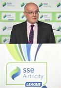 13 February 2018; Fran Gavin, Competition Director, Football Association of Ireland, speaking during the SSE Airtricity League Launch 2018 at the Aviva Stadium in Dublin. Photo by Seb Daly/Sportsfile