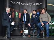 13 February 2018; MC Con Murphy, left, speaking with, from left, Bohemians U19 coach Graham Lawlor, St. Patrick's Athletic youth coach Sean O'Connor, and Limerick City academy director Willie Boland during the SSE Airtricity League Launch 2018 at the Aviva Stadium in Dublin. Photo by Seb Daly/Sportsfile