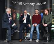 13 February 2018; MC Con Murphy, left, speaking with, from left, Cork City manager John Caulfield, Stephen O'Donnell of Dundalk, and Ryan Connolly of Galway United, during the SSE Airtricity League Launch 2018 at the Aviva Stadium in Dublin. Photo by Seb Daly/Sportsfile