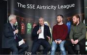 13 February 2018; MC Con Murphy, left, speaking with, from left, Manager of Cork City John Caulfield, Stephen O'Donnell of Dundalk, and Ryan Connolly of Galway United, during the SSE Airtricity League Launch 2018 at the Aviva Stadium in Dublin. Photo by Seb Daly/Sportsfile