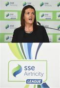 13 February 2018; Áine Murphy, Lead Marketing Manager, SSE Airtricity, speaking during the SSE Airtricity League Launch 2018 at the Aviva Stadium in Dublin. Photo by Seb Daly/Sportsfile